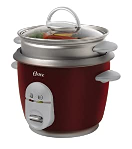 Oster 4722 3-Cup (Uncooked) 6-Cup (Cooked) Rice Cooker with Steaming Tray, Red from Oster