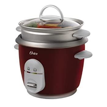 Make personalized meals and side dishes with the Oster 6-Cup Rice Cooker. This rice cooker is the perfect size for couples and small families as it makes up to 6 cups of cooked rice. It has a glass lid and a steaming tray for vegetables. Other featur...