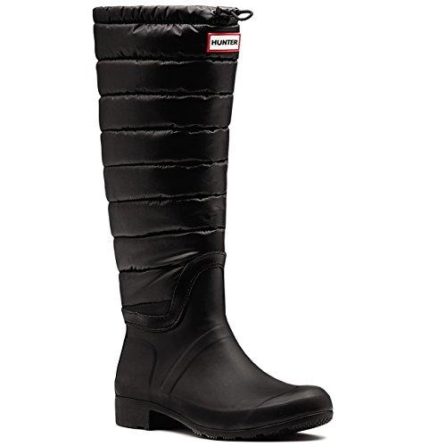Womens Hunter Original Quilted Leg Winter Waterproof Wellington Boots - Black - 7 - 38