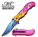 Masters Collection Ballistic Mermaid Marine Life Artwork Folding Knife - Pink & Gold