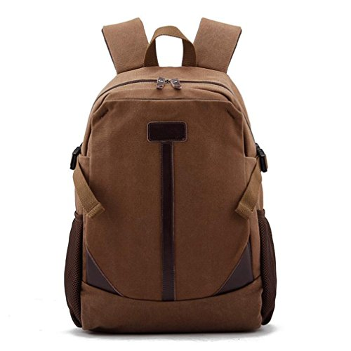 Men'S Preppy Style Canvas Book School Bag Casual All Cotton 14' Laptop Computer Backpacks Travel Bag Pocket Coffe