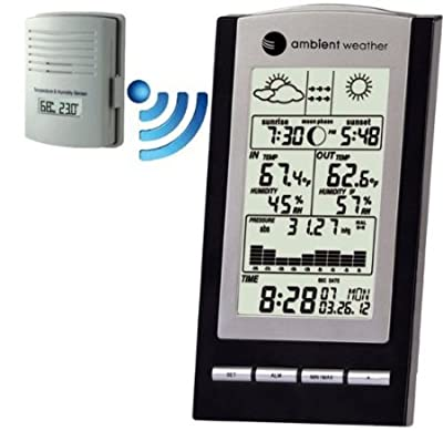 Ambient Weather WS-1173A Wireless Advanced Weather Station with Temperature, Dew Point, Barometer and Humidity, Sunrise, Sunset and Moonphase by Ambient Weather