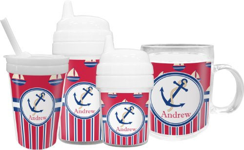 Sail Boats & Stripes Toddler Sippy Cup (Personalized) front-811214