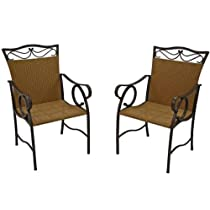Valencia Steel-Frame Wicker Patio Chairs - Set of 2