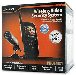 Defender PHOENIX1 Wireless Video Security System with Portable LCD Monitor and Indoor/Outdoor Night Vision Surveillance Camera (Black)