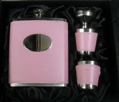 PINK FAUX LEATHER PERSONALISED ENGRAVED PLAQUE 7OZ COVERED HIP FLASK WITH 2 CUPS