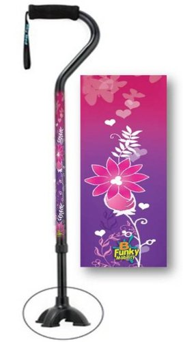 Adjustable Walking Cane With Feet Pink Floral