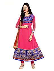 Clickedia Women Georgette Embroidered Pink & Blue Anarkali Suit- Dress Material