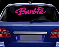 BARBIE Giant 28&quot; long Vinyl STICKER / DECAL Hot Pink