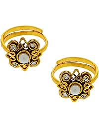 Anuradha Art Golden Colored Toe-Rings Style With Studded Stone For Women