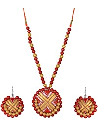 Dream Pottery Ceramic Strand Necklace Set For Women (J11)