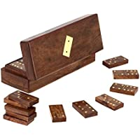 """Set Of 8 - Handmade Wooden Domino Tile Game In Storage Box - With Playing Instructions - Gifts In Sets - 8"""" X..."""