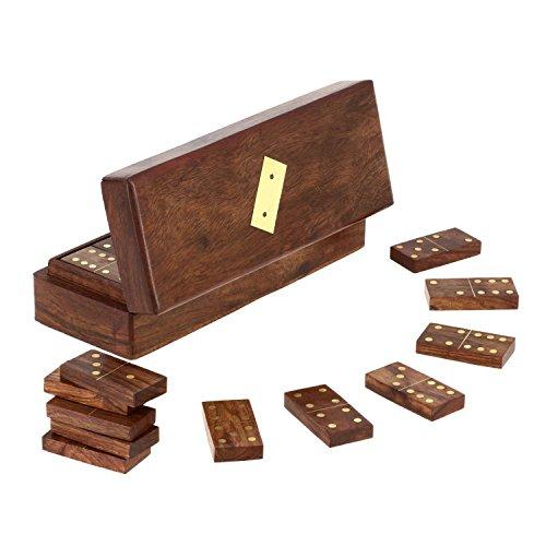 Fatti a mano in legno gioco di tessere del domino in contenitore - completo set di giochi - 6.35 x 20.32 x 7.62 cm