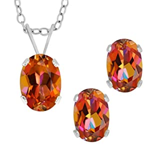 """2.10 Ct Oval Azotic Ecstasy Topaz .925 Sterling Silver Earrings Pendant Set 18"""""""