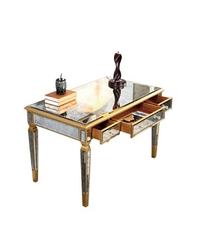 Florentine 3-Drawer Desk, Gold Leaf/Antique Mirror