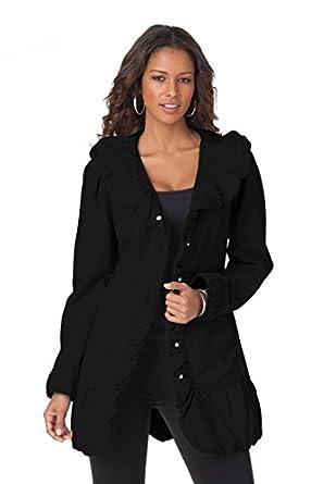 Roamans Women's Plus Size Ruffle Trench Jacket (Black,14 W)