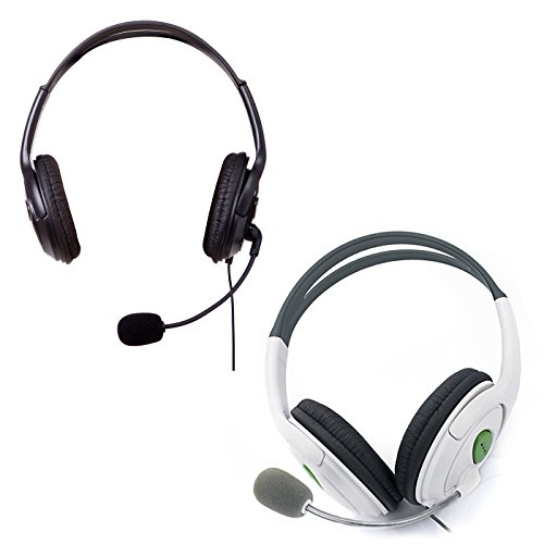 HDE Xbox 360 Headset Game Chat Xbox Live Headphone with Microphone – 2 Pack (Black & White)
