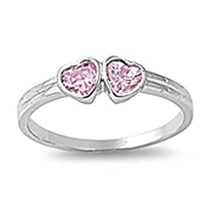 Pink Cz Hearts Baby Ring Size 1