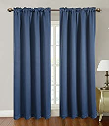 Blackout Curtains Window Panel Drapes for bedroom / living room - 2 Panel Set, 52 by 84 inch each panel, 7 Back Loops per Panel, 2 Tie Back Included, color Navy - Window Rose
