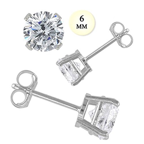 14K White Gold Stud Earring Aprx 1.5 Carat Total Weight, 6Mm Each Round Simulated Diamond Earring. Set On High Quality Prong Setting & Friction Style Post - Crazy2Shop