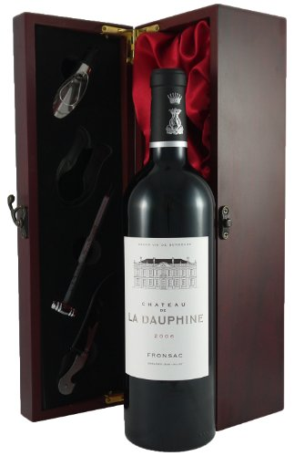 Chateau de La Dauphine 2006 Vintage Wine in a silk lined box with 4 wine accessories