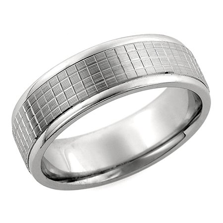 6.00 Millimeters White Gold Wedding Band Ring 10Kt Gold, Comfort Fit Style SE3425W, Finger Size 8