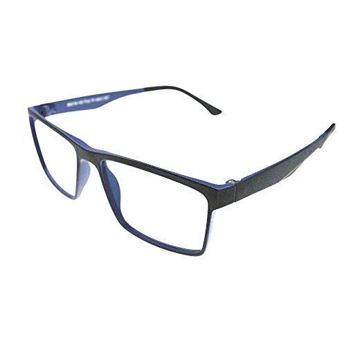 ULTEM Myopia Glasses Optical Prescription Eyeglasses Frame 56-18-140-36 (Black/Light blue)