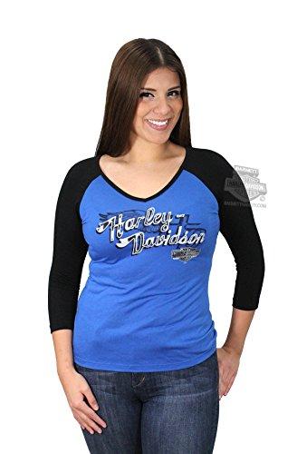 Harley-Davidson Womens Ride Vagabond Colorblocked V-Neck Blue 3/4 Sleeve T-Shirt - XL