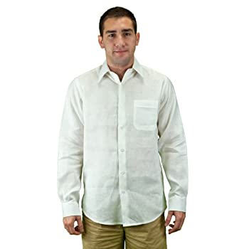 Mens long sleeve white linen shirt.