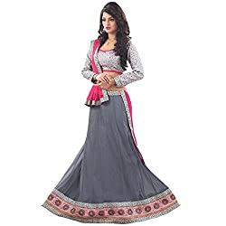 JAY AMBE CREATION GRAY COLOUR NET UNSTITCHED LEHENGA