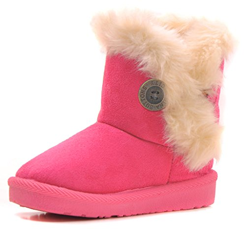 IOO Baby Girls Boys Plush-filled Bailey Button Snow Boots Warm Winter Flat Shoes Rose 27