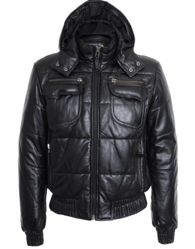 Mens Leather Puffa Hooded Jacket : Black : SR032 Medium