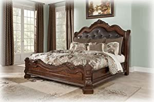 Ashley Ledelle King Sleigh Bed In Old World In Brown Finish Be