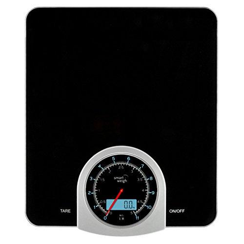 Smart Weigh Balance numérique/mécanique pour la cuisine et les aliments avec écran LCD et cadran, noir