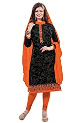 Fabfirki Exclusive Latest Arrival Black And Orange Dress Material