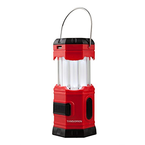 Tansoren ® - Lanterna da campeggio portatile di emergenza ricaricabile tramite USB, LED ad energia solare, impermeabile, 180 lm