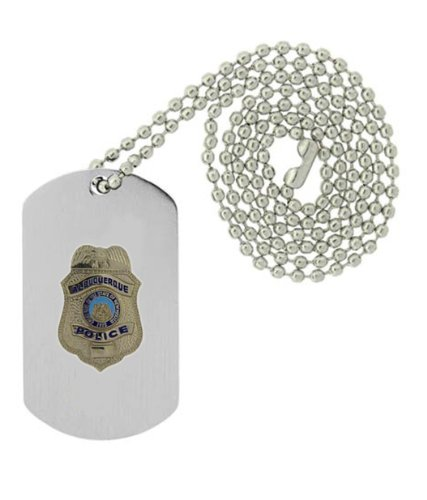 Military Emblem Dog Tag W/ Metal Chain Necklace - Law Enforcement Pin Collector Series - Police Badge Pins - Albeuquerque, Nm