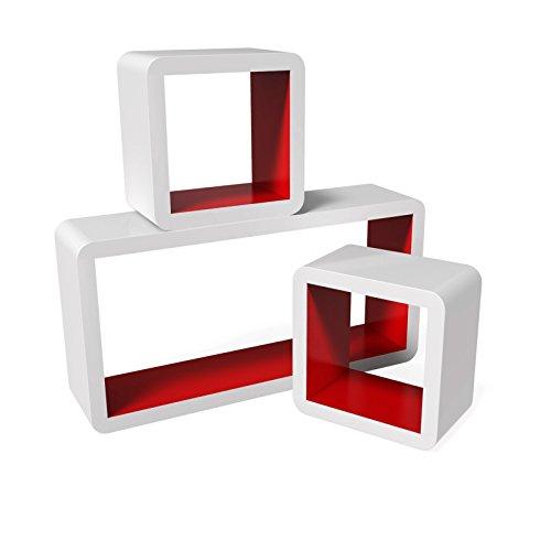 Songmics Set 3 Mensole da Parete Scaffali Cubi Stile Retró Porta Libri CD Bianco-Rosso LWS92R