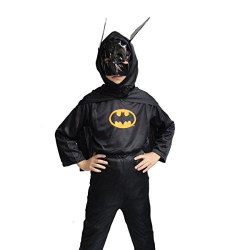 COSTUME DA UOMO PIPISTRELLO BATMAN NERO 3-4 ANNI TAGLIA S TRAVESTIMENTO DI CARNEVALE E HALLOWEEN BAMBINO BIMBO (CONTROLLARE LE MISURE IN CENTIMETRI DELLA TAGLIA) BAT MAN- HLLW