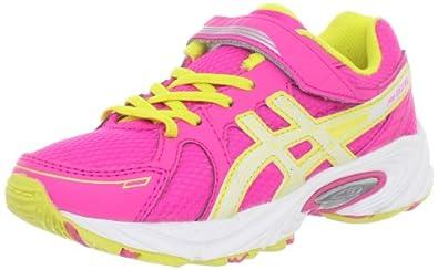 ASICS Pre Excite PS Running Shoe (Toddler/Little Kid/Big Kid),Hot Pink/White/Sun Yellow,12 M US Little Kid