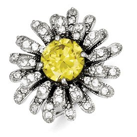 Genuine IceCarats Designer Jewelry Gift Sterling Silver Yellow & Clear Cz Ring Size 6.00