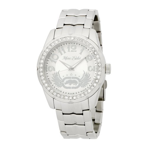 marc ecko logo. Unmistakably Marc Ecko. Watch features a stainless steel bracelet and case. Swarovski crystal-accented bezel. Silvertone dial with scripted and graphic logo