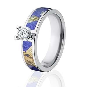 Amazon Camo Wedding Rings Realtree AP Purple Camo Rings With 1 2 CTW 14k Setting The