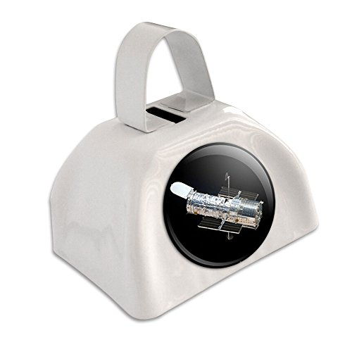 Hubble Telescope - Astronomy Space White Cowbell Cow Bell