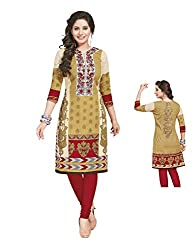 PShopee Gold & Red Cotton Printed Unstitched Kurti/Top Material
