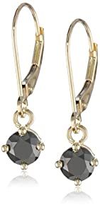 14k Yellow Gold Black Diamond Dangle Earrings (1 cttw)