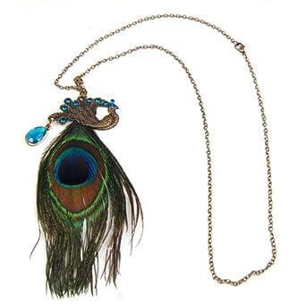 Fashion Nice Gorgeous Blue Eyes Peacock Rhinestone Long Feather Pendant Necklace