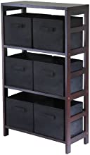 Winsome Wood Capri Wood 3 Section Storage Shelf with 6 Black Fabric Foldable Baskets