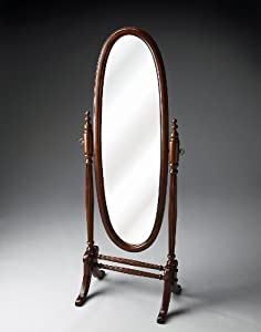 Accent Furniture - Oval Dressing Mirror - Cherry Finish - Full Length Mirror - Bedroom Mirror - Floor Mirror - Cheval Mirror