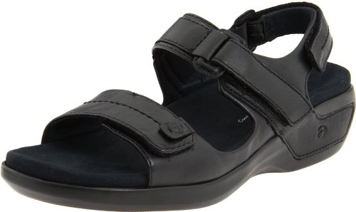 Aravon Women's Katy Fisherman Sandal,Black Leather,9 M (B) US
